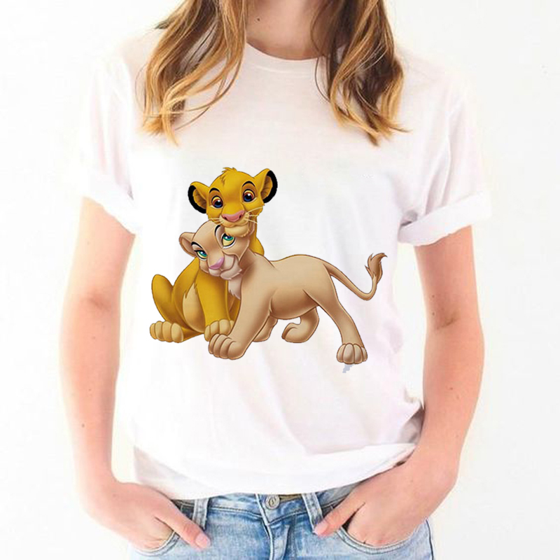 Casual Harajuku Graphic Female Tshirt <font><b>Lion</b></font> <font><b>King</b></font> Print Cartoon <font><b>T</b></font> <font><b>Shirt</b></font> <font><b>Women</b></font> 2019 Summer Fashion Cotton&Polyester Cute Top Tee image