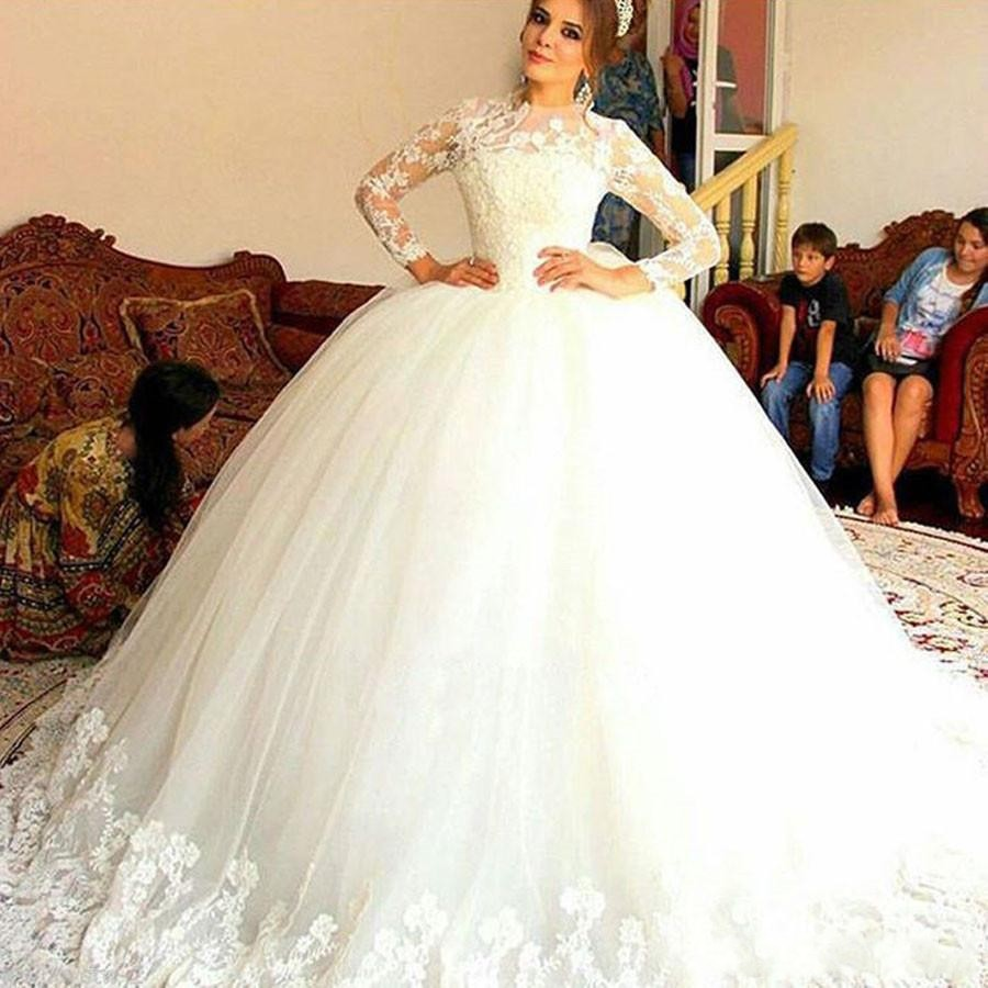 E JUE SHUNG Vintage Long Sleeves Ball Gown Wedding Dresses High Neck Lace Up Back Midwest Muslim Bridal Gowns Vestido De Noiva