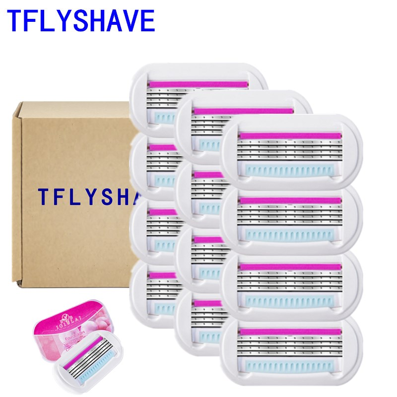 TFLYSHAVE Women Shaving Blades for Women Hair Removal Blade Woman Razor Blades for Shaver Replacement Head Venuse 12pcs/lot(China)