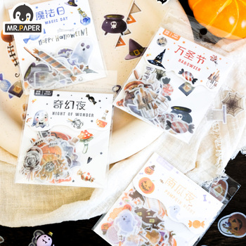 Mr.paper 4 Styles 40pcs/lot Stickers Halloween theme Paper Scrapbooking Making Journal Project DIY Retro Hangtag with Ho