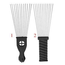 2 tipos pro pente afro de metal aço inoxidável estilo cabelo pente profissional escova de cabeleireiro barbeiros punho preto picareta pente