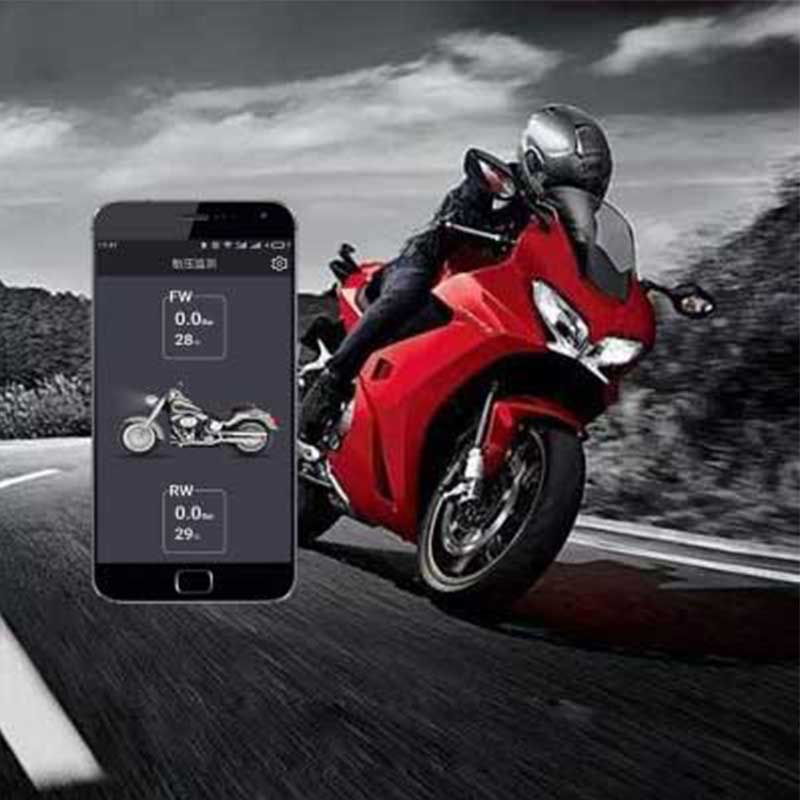 Motorcycle Wireless Bluetooth Tire Pressure Monitoring System TPMS 0.1-5.0bar APP Detection 2 External Sensors For Android