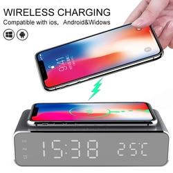 Led despertador elétrico com carregador para iphone12 carregador calarm relógio sem fio carregador para xiaomi termômetro telefone char