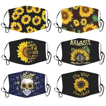 2020 Sunflower print flower mask can put gasket adult male and female protective mask skull cute print adult mask image