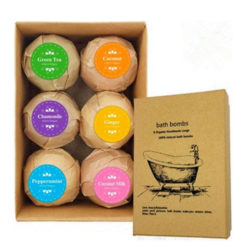 ABVP 6pcs Deep Bath Salt Body Oil Moisturizing Bath Ball Natural Bubble Bath Salt Ball