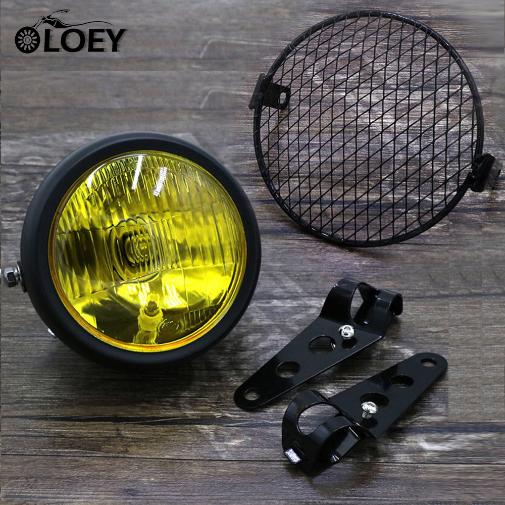 Motorcycle Mesh Lampshade Moto Front Headlight Grill Cover Retro Vintage Bracket External Light Mask Protector Grid Steel Shield