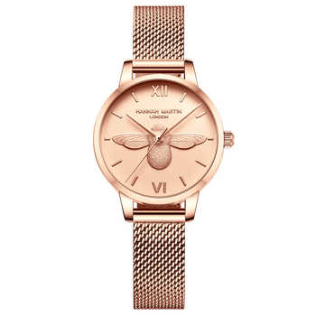 HM Stainless Steel Mesh Wristwatches Top Brand Luxury Japan Quartz Movement Rose Gold Designer Elegant Style Watches For Women - DISCOUNT ITEM  57% OFF All Category
