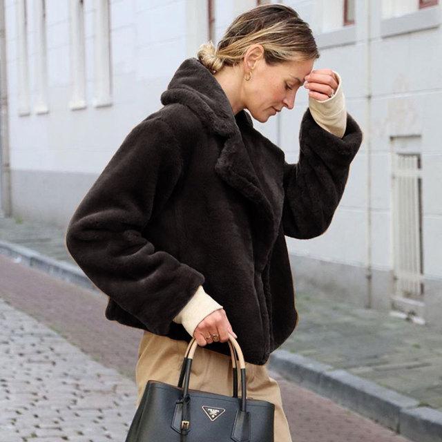 Ladies Casual Teddy Coat Winter Fleece Plus Size Warm Thick Faux Fur Jacket Coat Women Pockets Plush Overcoat Outwear Plus Sizes