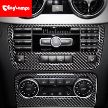 цена на For Mercedes GLK 2013-2018 Carbon Fiber Air Conditioning Outlet Control Panel Car Sticker Trim Cover Interior accessories
