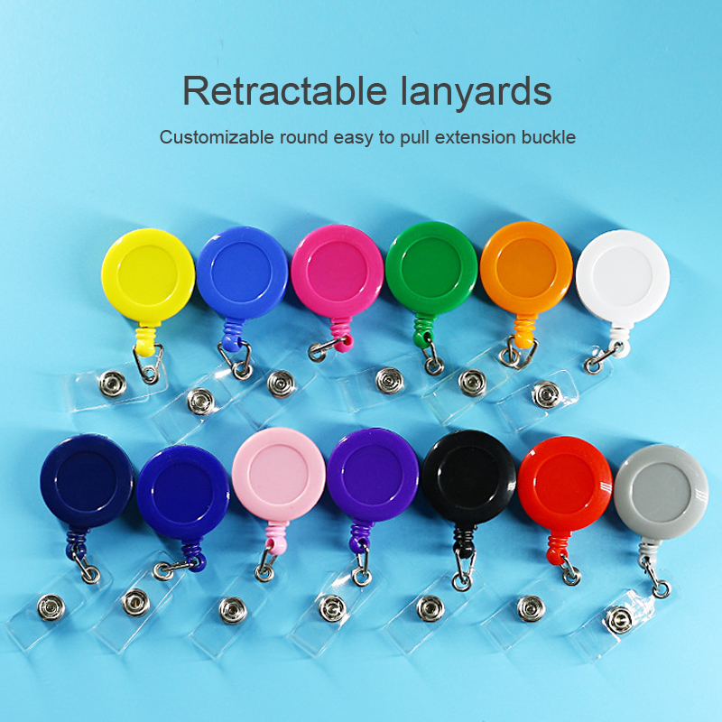 Customizable Retractable Badge Holder Lanyards Id  Badge Reel Lanyard Clip Name Bage Holder Tags Card Holder Plastic Key Chain