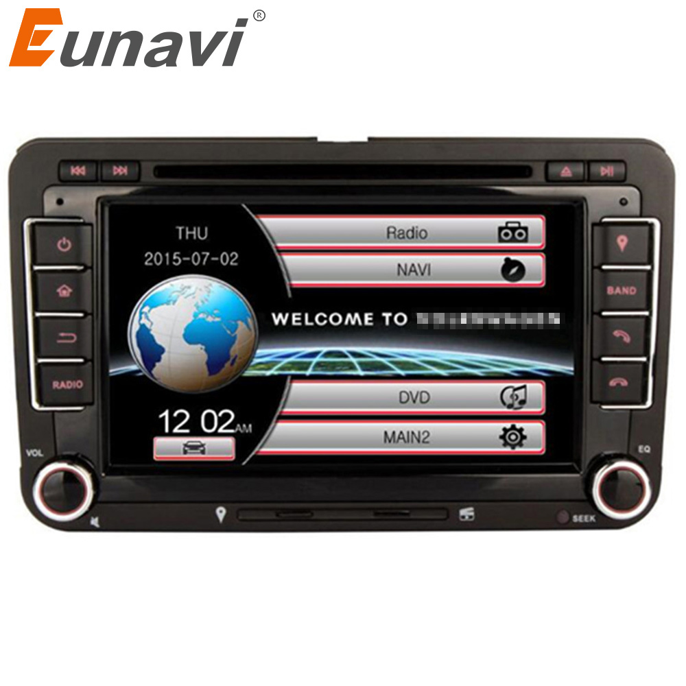 Eunavi 2 Din Auto DVD Player Für VW GOLF POLO JETTA MK5 MK6 PASSAT B6 SKODA TOURAN Mit 3G USB GPS BT IPOD FM RDS spiegel link swc