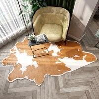 Imitation Cowhide Bedroom Rug Faux Skin Fur Carpets Living Room Artificial Velvet Sofa Bedside Mat Non slip Natural Home Carpet