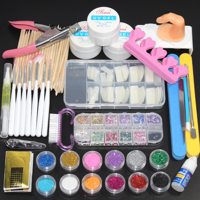 12 Pieces Nail Powder Acrylic Glitter Powder Set For Manicure Kit Gel Nail Polish Decoration Fake Nail Tip Gel Brush Tool Set
