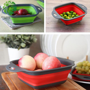 Image 5 - Duolvqi Foldable Fruit Vegetable Washing Basket Strainer Portabl Silicone Colander Collapsible Drainer With Handle Kitchen Tools