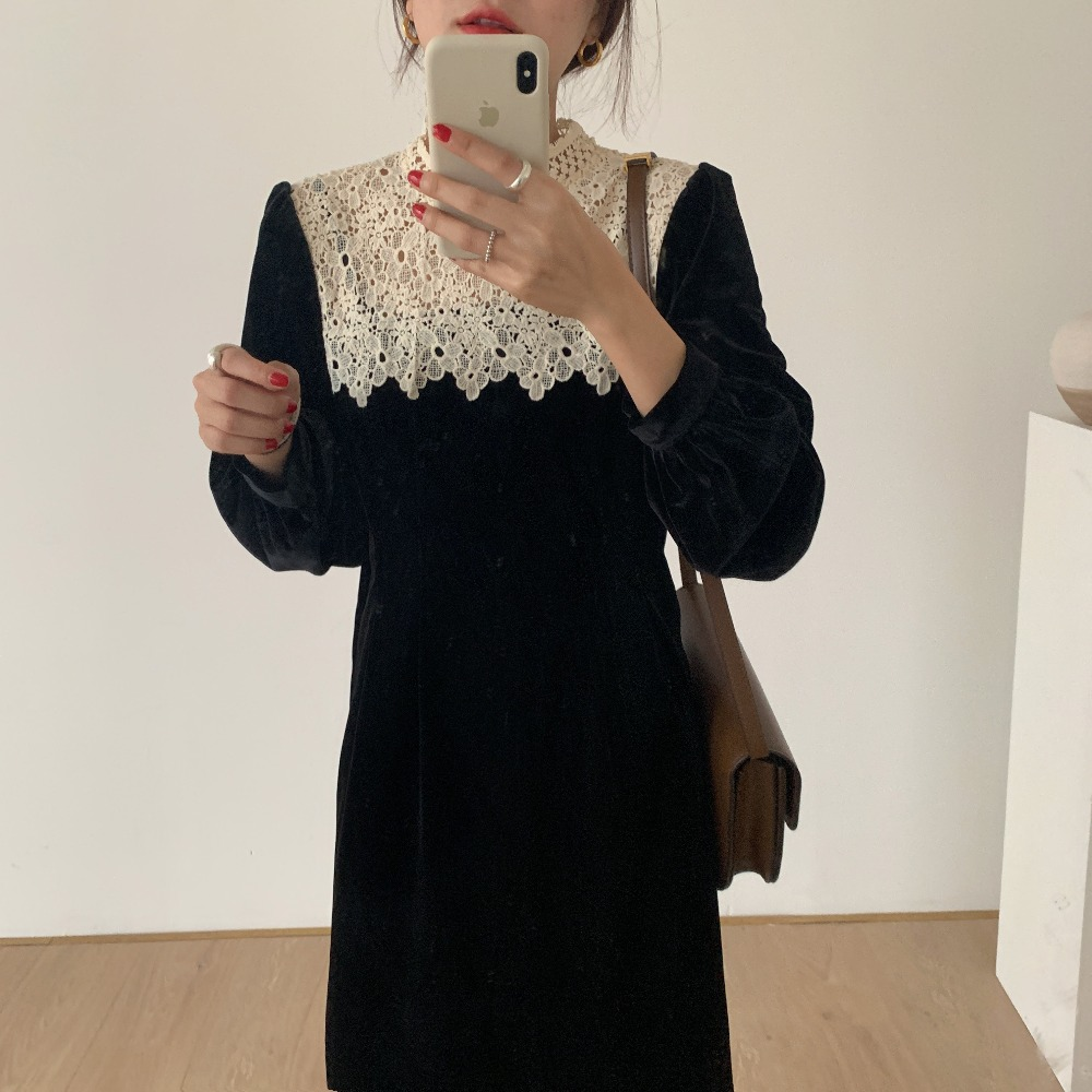 H37811fc7c2f6467ea21ca2ce5c176182l - Autumn / Winter Korean O-Neck Long Sleeves Lace Patchwork Midi Dress