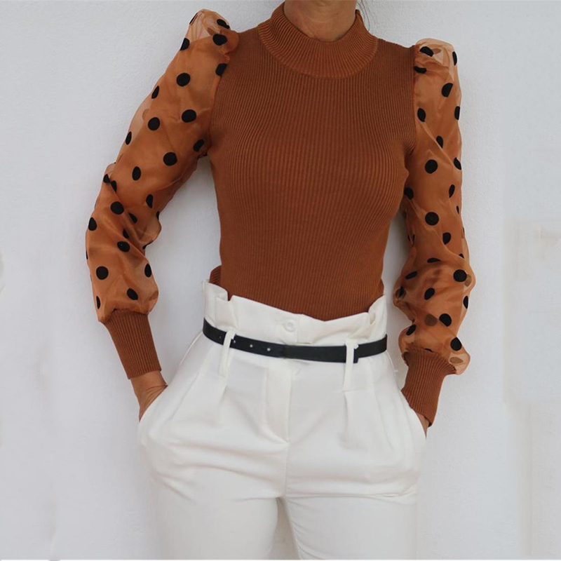 Polka Dot Puff Sleeve Knitwear Tops Mesh Transparent Sweaters Pullover Women Long Sleeve Knitted Turtleneck Thin Sweater