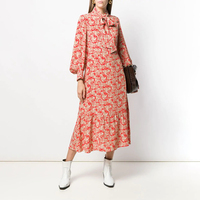 CAMIA Sweet Print three quarter Sleeve bowknot midi Dress Elegance Dress Autumn/winter 2019 French Style for Women