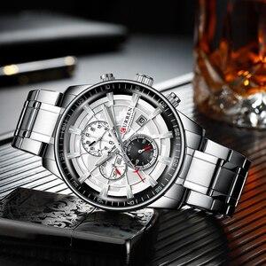Image 4 - CURREN 시계 Mens 패션 스포츠 손목 시계 크로노 그래프 빛나는 손 시계 남성 시계 블루 스테인레스 스틸 밴드