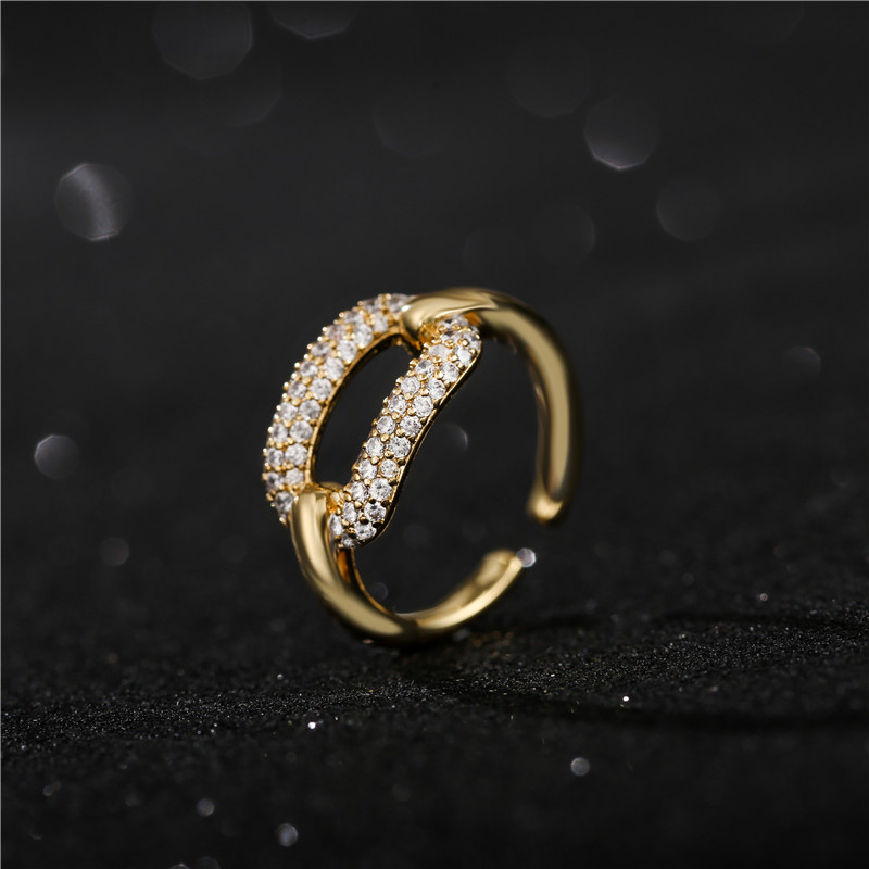 Colorful CZ Eternity Band Ring Unique Geometric Design Open Ending Engagement Wedding Ring For Women Promise Jewelry Gift