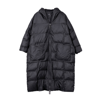 Winter Hooded Long Sleeve Solid Color Black Cotton-Padded Warm Loose Big Size Jacket Women Parkas Fashion