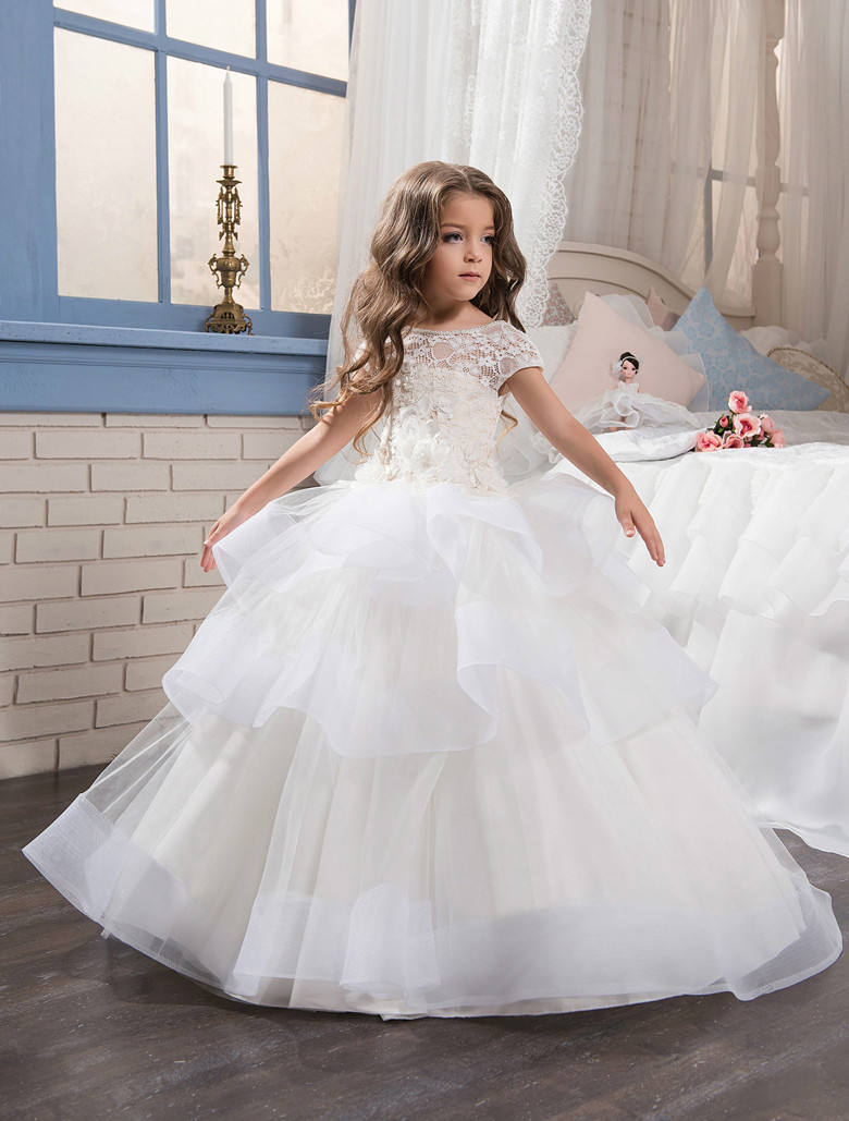 Cap Sleeves 2019   Flower     Girl     Dresses   For Weddings Ball Gown Tulle Lace Tiered Long First Communion   Dresses   Little   Girl