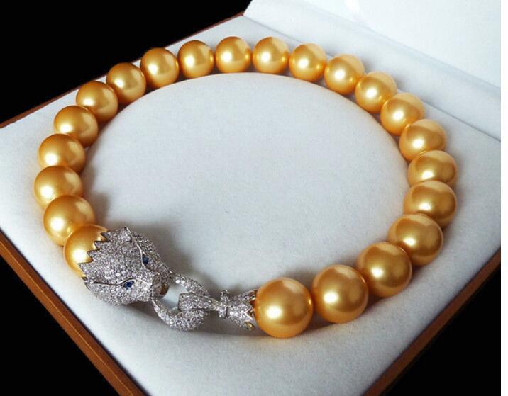 Grand 16mm or jaune mer du sud coquille perle incrusté zircon tête de léopard collier de luxe fermoir CZ pour les femmes bijoux en argent 18 pouces