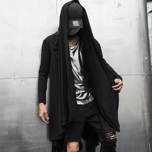 Тренчкот мужской в готическом стиле, длинная куртка накидка в стиле панк рок, винтажный черный кардиган с капюшоном, пальто в готическом стиле, Осень зима