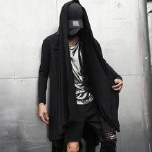 Autunno inverno degli uomini di gotico punk rock cappotto di trincea giacca lunga mantello degli uomini vintage nero con cappuccio cappotto cardigan di stile gotico cappotti
