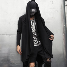 Gabardina de estilo gótico de gotico punk rock para hombre, Chaqueta larga, capa, Abrigo con capucha, color negro vintage