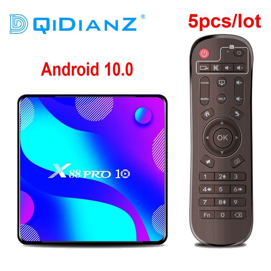 Приставка Смарт-ТВ DQiDianZ 5 шт./лот x88 pro10 Android 10 RK3318 четырехъядерная 4K телеприставка H.265 телеприставка медиаплеер X88 PRO