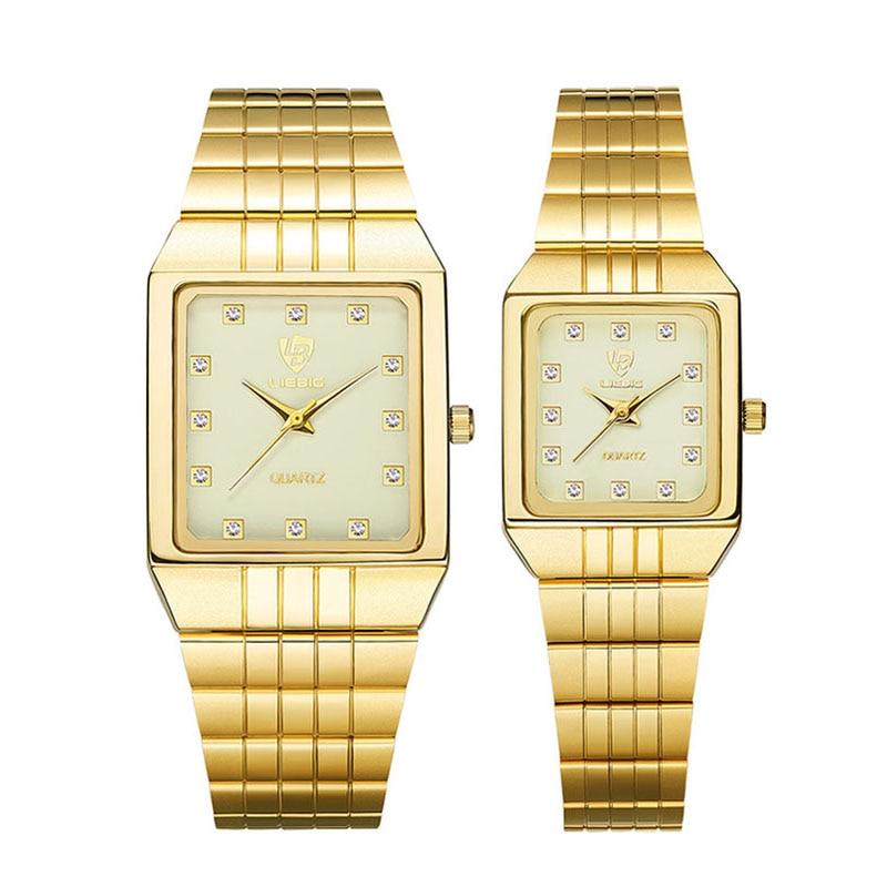 Кварцевые часы для мужчин и женщин, золотые часы, брендовые Роскошные наручные часы с браслетом, золотые стальные женские мужские часы, Relogio ...