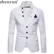 Shenrun Men's Fashion Stand-Up Collar Casual Jacket Black Khaki Navy Blue Red White Male Blazers Young men Slim Fit Suit Jackets цена 2017