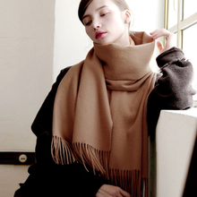 Luxury brand plain Cashmere scarves 100% Wool shawls For women And Men 2020 winter New warm thick Travel blankets tassel scarf