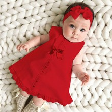 Newborn Baby Girl Dress Sleeveless Casual Maxi Bow Dress+Headband Set outfit Bowknot Ruffle Red Clothes Baby Summer Dress