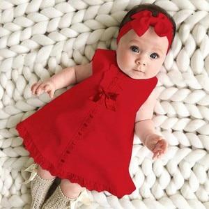 Newborn Baby Girl Dress Sleeveless Casual Maxi Bow Dress+Headband Set outfit Bowknot Ruffle Red Clothes Baby Summer Dress