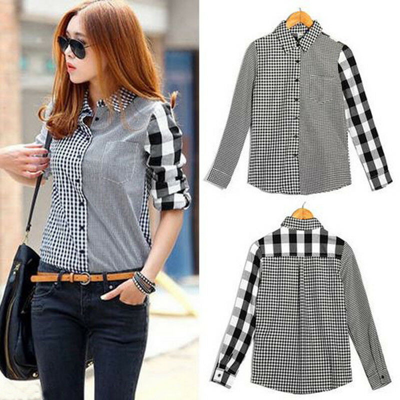 Women Lady Office Ladies Summer Plaid Shirt Long Sleeve Patchwork Button Fashion Lapel Slim Fit Casual Tops