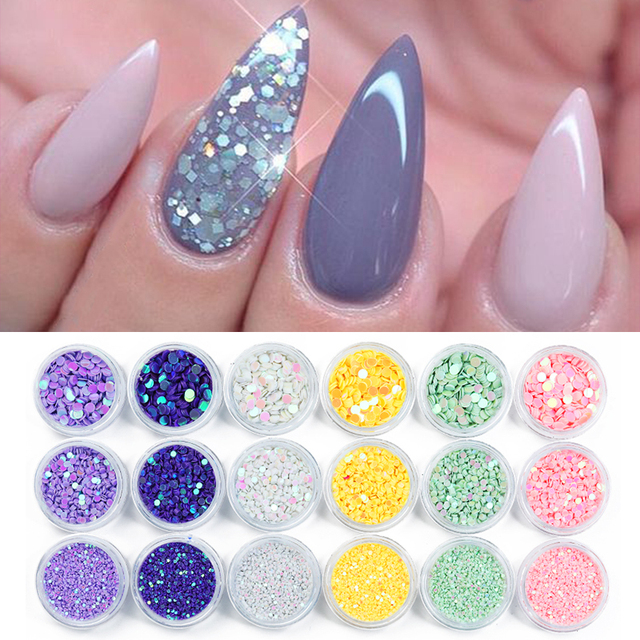 1 Box Holographic Nail Glitter Powder Colorful