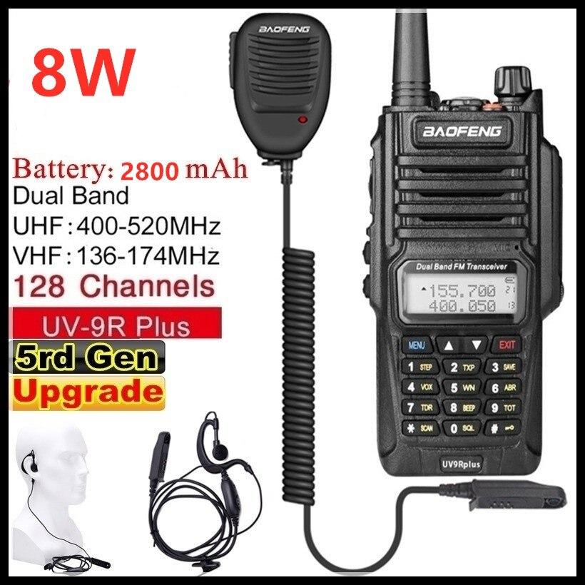 Baofeng UV-9R Plus (5rd Gen)Walkie Talkie 8W 2800mAh VHF UHF Dual Band Handheld Two Way Radio Waterproof FM Protable Digital