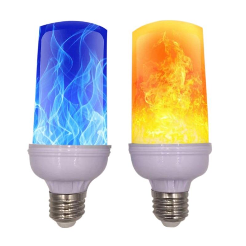 App inteligente led efeito de chama lâmpada 4 modos com efeito de cabeça para baixo 2 pacote e26 bases decoração festa - 3