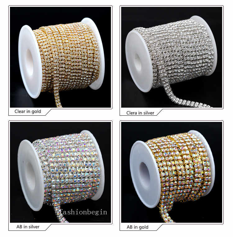 1yard 2-Righe ss6 ss8 ss12 ss16 crystal clear/AB strass Oro/argento placcato cup claw chiudi catena cucire su Strass Ribbon Trim