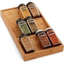 Spice Rack Organizer 3-Tier Bamboo Seasoning Drawer Tray 12 Jars Holder for Kitchen spice storage Spice jars