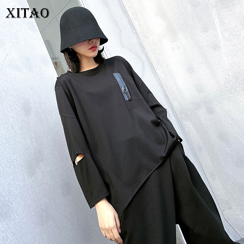 XITAO Hollow Out Women T Shirt Fashion Full Sleeve Patchwork Pocket 2020 Black White Minority Casual Style Loose Tee DMY3354