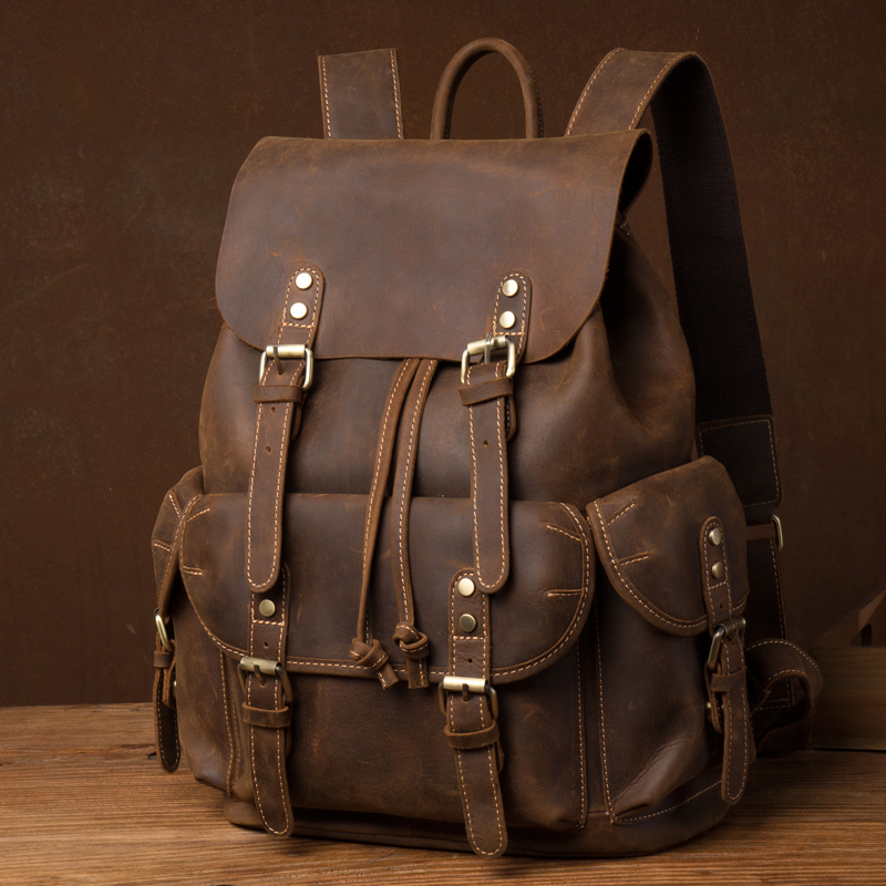 New Crazy Horse Leather Men's Backpack Vintage Top Layer Leather Handmade Backpack Leather Casual Computer Backpack