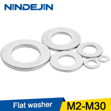NINDEJIN 1-100pcs Flat Washer M2 M2.5 M3 M4 M5 M6 M8 M10 M12 M14 M16 M18 M20 Stainless Steel Washers Plain Washer Gaskets DIN125 100pcs m1 6 m2 m2 5 m3 m3 5 m4 m5 m6 m8 304 stainless steel flat washer plain washer flat gasket