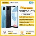 Глобальная версия realme C21 смартфон Helio G35 Octa Core 6,5 ''дюйма Экран 5000 мА/ч, массивные Батарея 3-слот для карт памяти 13MP Камера