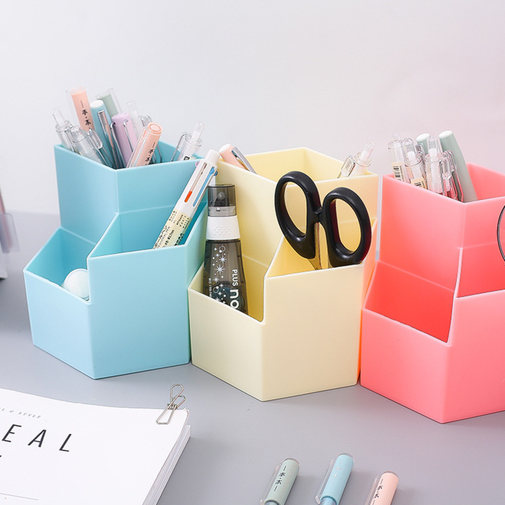 Three Grid Ins Diamond-type Lattice Creativity Pen Holder More Function Desk Organizer Office Accessories Students Stationery