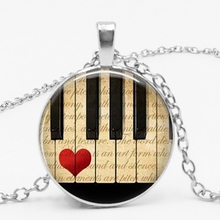 LETS SLIM Piano Heart Pendant Necklace, Accessories Music Teacher Gifts, To Map Private Custom
