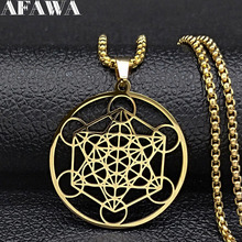 2019 Fashion Yoga Hindu Buddhism Flower of Life Stainless Steel Necklace Chain Women Gold Color Jewelry collares N19428