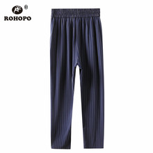 ROHOPO Navy Blue White Vertical Stripe Woman Pant Elasticity Waist Autumn Chic Ladies Dress Trousers #052