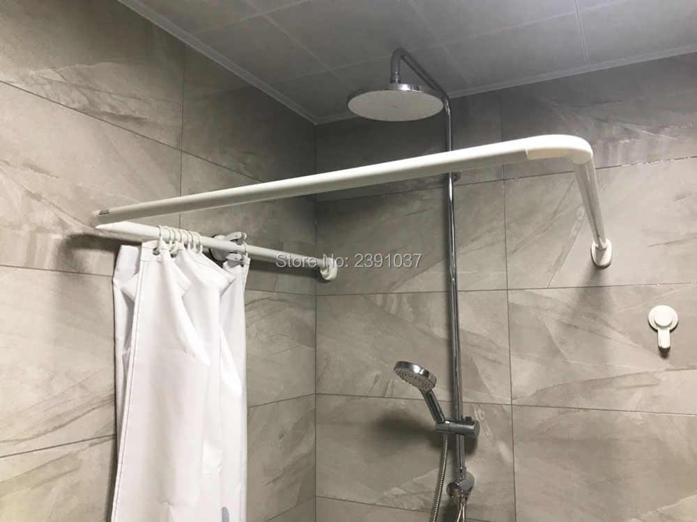 free combination white l oru shaped curved shower curtain rod aluminium alloy shower curtain poles bathroom curtain rail track